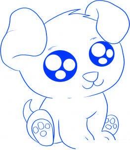 dessiner un chiot de dessin anime - etape 5