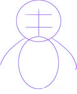 dessiner un bebe pingouin - etape 1