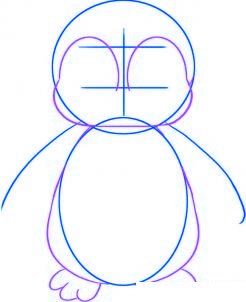 dessiner un bebe pingouin - etape 2