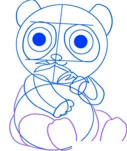 dessiner un panda de dessin anime - etape 4