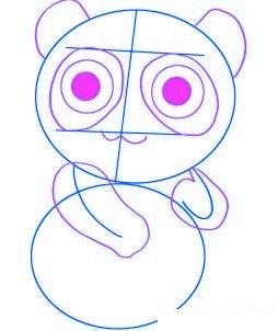 dessiner un panda de dessin anime - etape 2