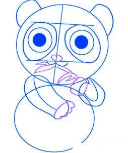 dessiner un panda de dessin anime - etape 3