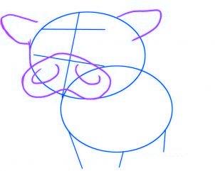dessiner un bebe vache - etape 2