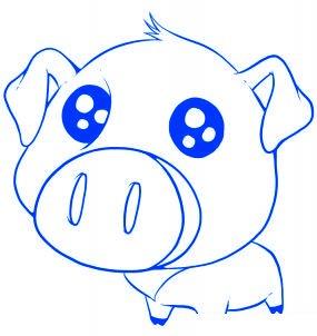 dessiner un cochon mignon de dessin anime - etape 6