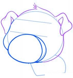 dessiner un cochon mignon de dessin anime - etape 3
