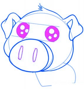 dessiner un cochon mignon de dessin anime - etape 4