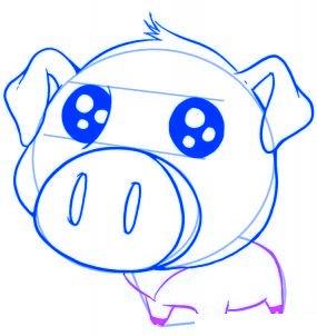 dessiner un cochon mignon de dessin anime - etape 5