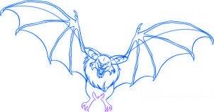 dessiner une chauve souris de dessin anime - etape 6