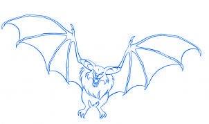 dessiner une chauve souris de dessin anime - etape 7