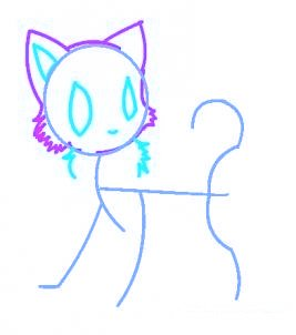 dessiner un chat de manga - etape 3