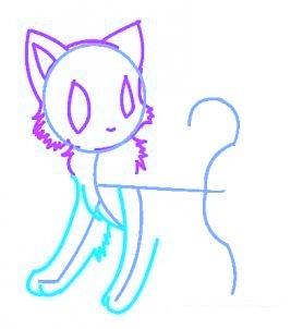 dessiner un chat de manga - etape 4