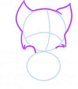 dessiner un chat de dessin anime - etape 2