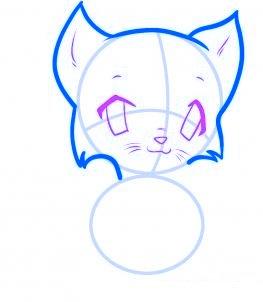 dessiner un chat de dessin anime - etape 3