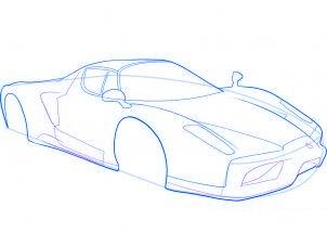 dessiner une voiture de sport Ferrari - etape 6