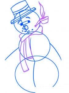 dessiner un bonhomme de neige - etape 3