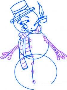 dessiner un bonhomme de neige - etape 4