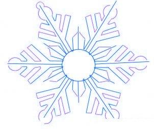 dessiner un flocon de neige de noel - etape 3