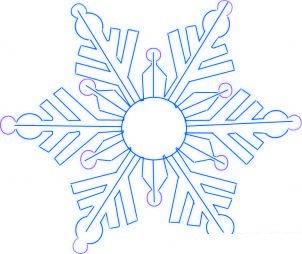 dessiner un flocon de neige de noel - etape 4
