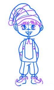 dessiner un elfe de noel - etape 4