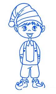 dessiner un elfe de noel - etape 5