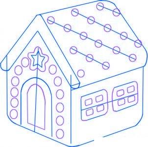 dessiner une maison en pain d-epice - etape 3