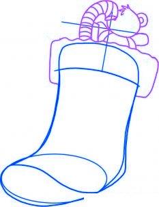 dessiner une chaussette de noel - etape 3