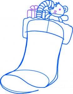 dessiner une chaussette de noel - etape 4