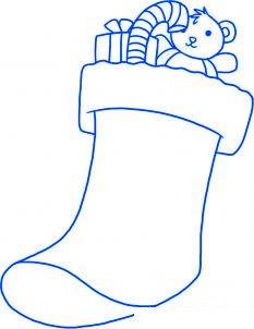 dessiner une chaussette de noel - etape 5