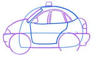 dessiner une voiture de police - etape 3