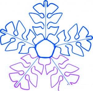 dessiner un flocon de neige de noel - etape 5