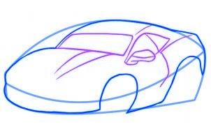 dessiner une voiture de course - etape 3