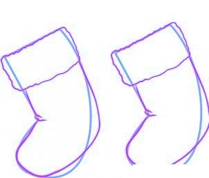 dessiner des chaussettes de noel - etape 2