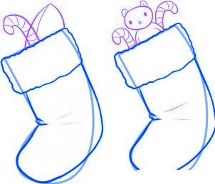 dessiner des chaussettes de noel - etape 3