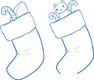 dessiner des chaussettes de noel - etape 4