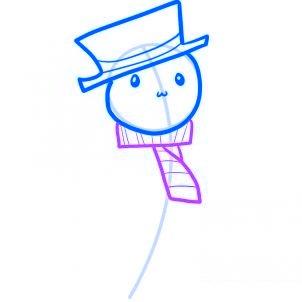 Dessiner un bonhomme de neige facile - etape 4