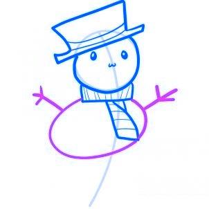 Dessiner un bonhomme de neige facile - etape 5