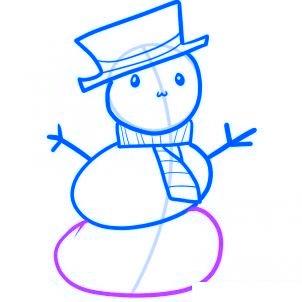 Dessiner un bonhomme de neige facile - etape 6