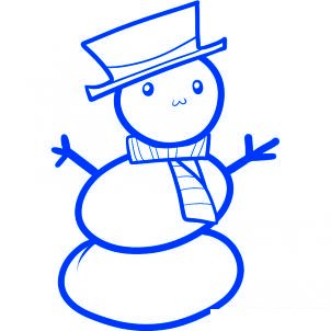 Dessiner un bonhomme de neige facile - etape 7