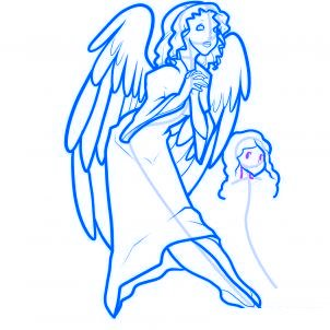 dessiner des anges de noel - etape 11