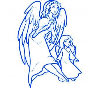 dessiner des anges de noel - etape 14