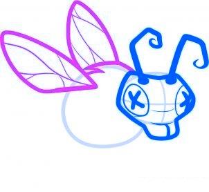 dessiner abeille zombie - etape 4