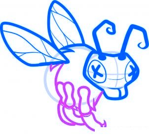 dessiner abeille zombie - etape 5