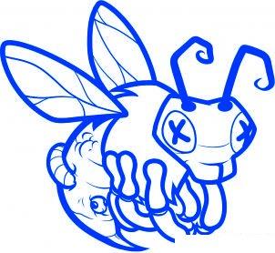 dessiner abeille zombie - etape 8